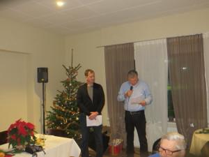Andreas Schunk und Uwe Sinast (v.l.n.r.) bei der Weihnachtsansprache